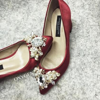 Crystal Embellished Burgundy Satin ..
