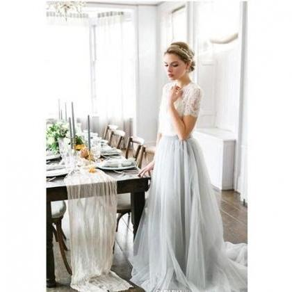 Country Cheap Two Pieces Grey Bride..