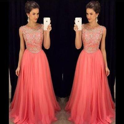 Long prom Dress,Coral prom Dress,Be..