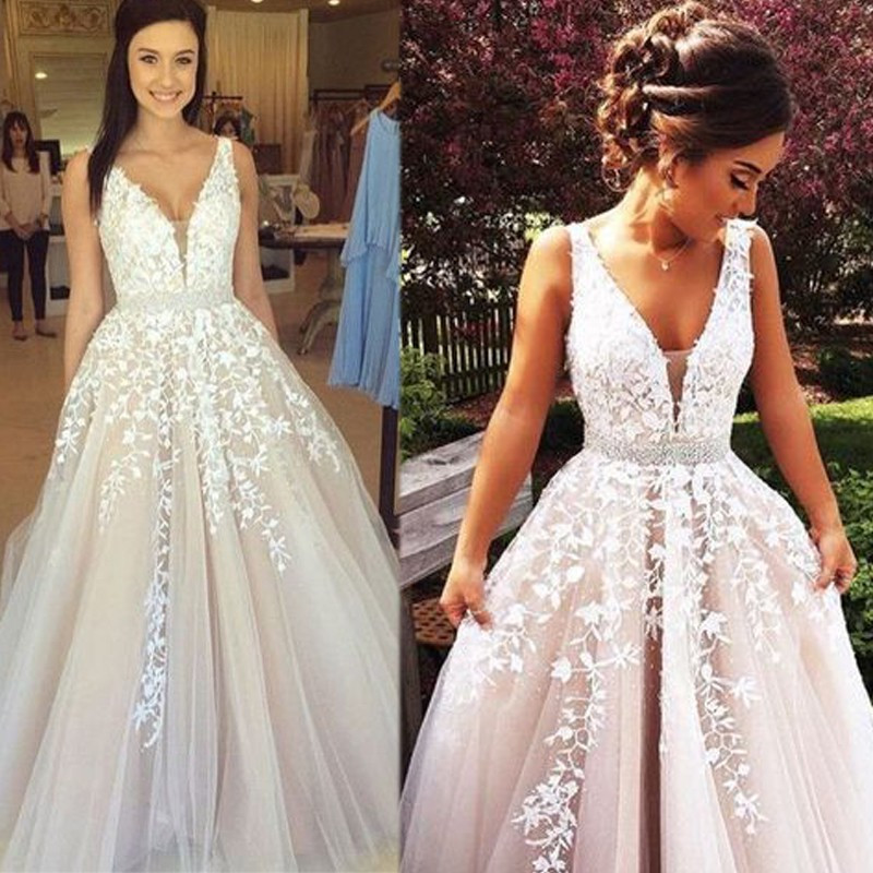 Dress Long Party Vestido De Festa Longo Para Casamento Prom Dress V Neck Elegant Evening Dresses with Lace Appliques