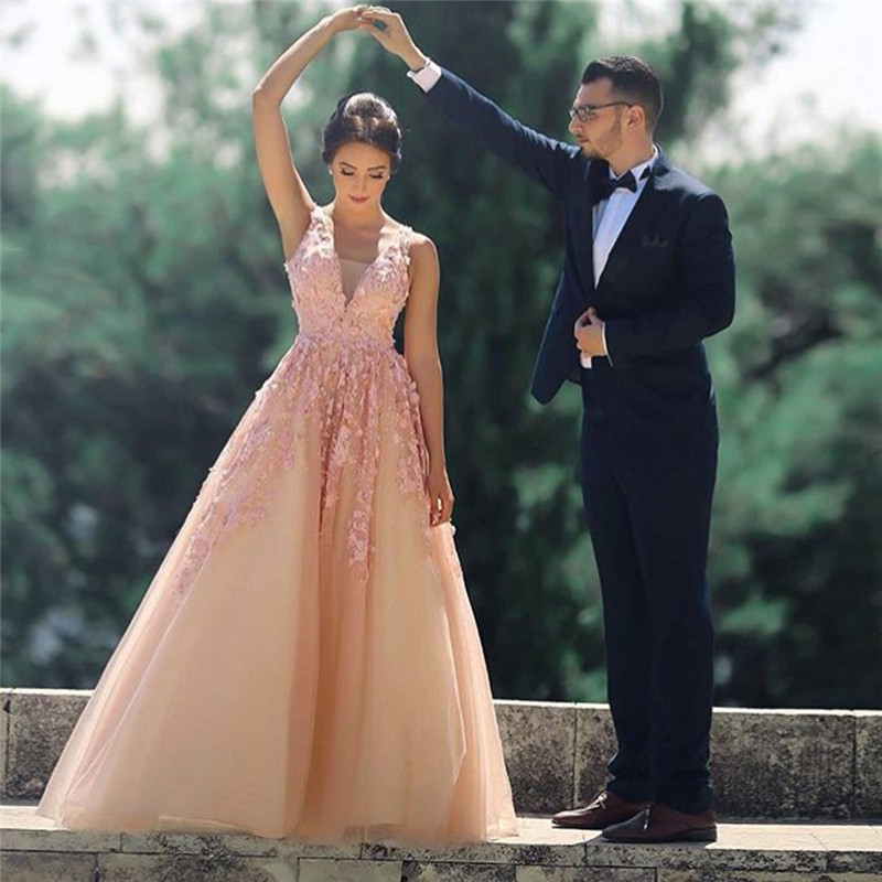 Elegant Gowns Formal Dress Women Vestido V Neck Cap Sleeves Evening Long Dresses