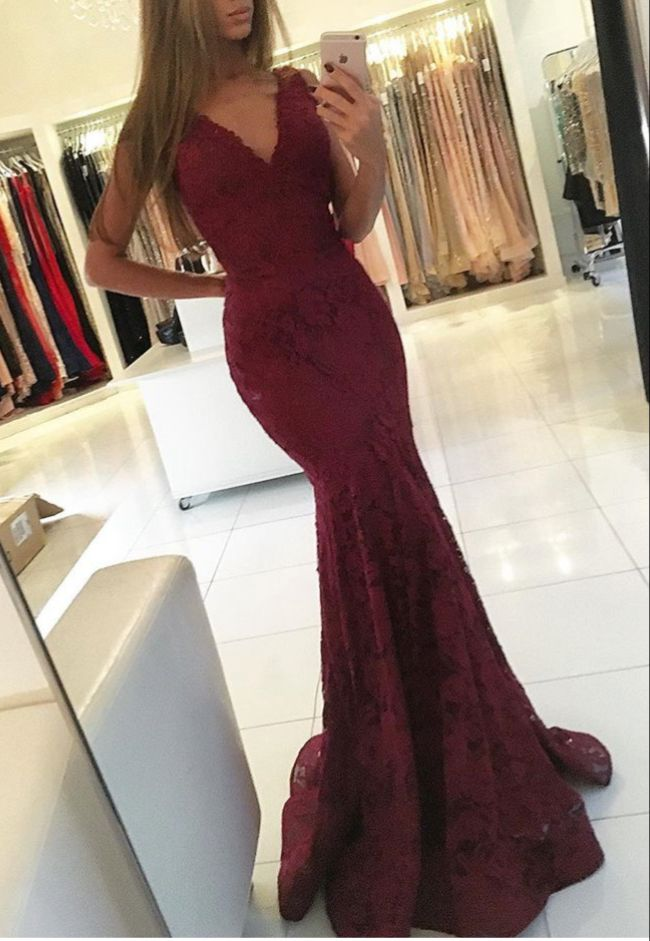 7630f6072019 Modest Lace Burgundy Prom Dresses Mermaid 2017 V Neck Robe De Soiree Formal  Celebrity Dress Party