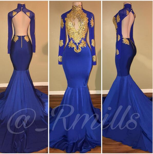 Sexy Royal Blue Prom Dress High Neck Prom Dresses Mermaid Backless Evening Dress Backless Robe De Soiree Formal Dress Party Evening Gowns