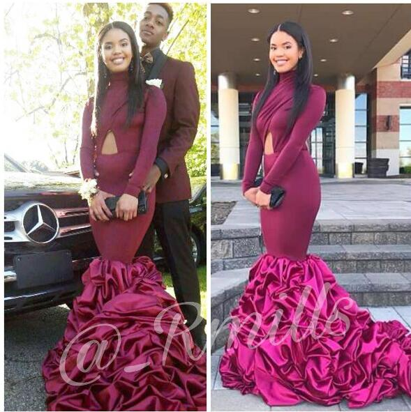 796899ad01d Sexy Black Girl Prom Dress Burgundy High Neck Ruffle Prom Dresses Cutout  Backless Mermaid Evening Dress Robe De Soiree Formal Dress Party Evening  Gowns