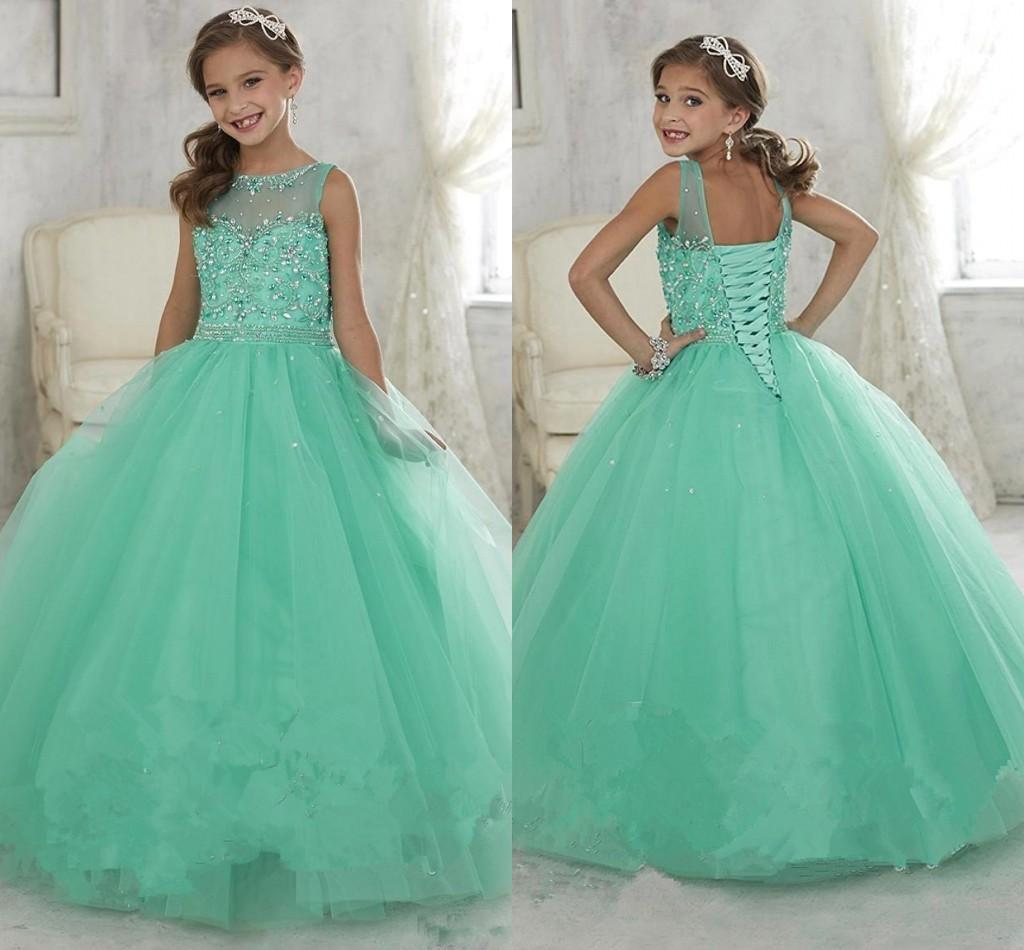 Cute Mint Green Little Girls Pageant Dresses Tulle Sheer Crew Neck ...