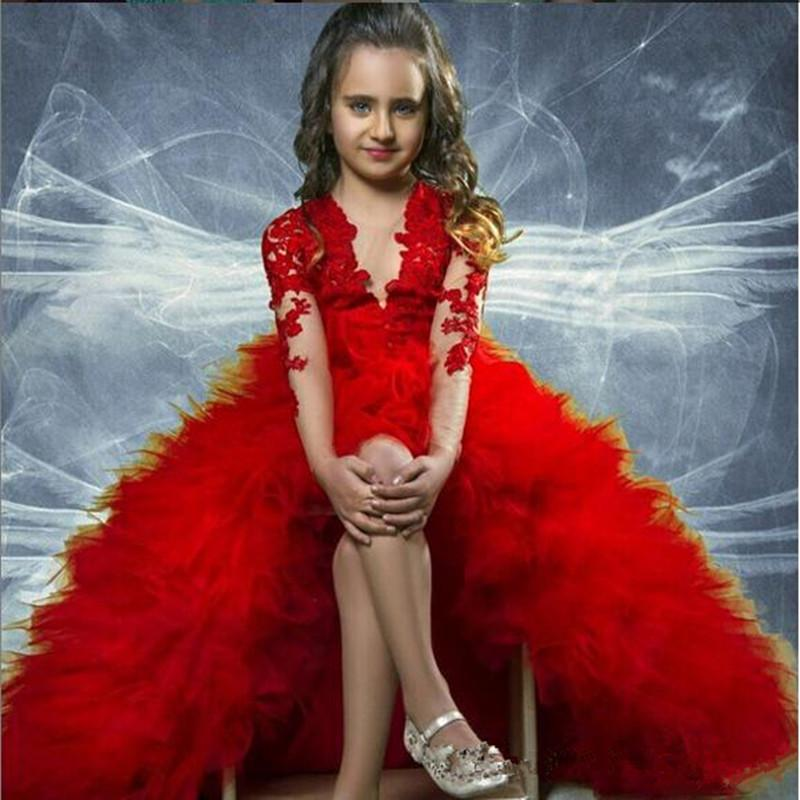 4521b4d6beb New Girls Pageant Dresses For Teens Dark Red Lace Appliques Long Sleeves Hi  Lo Tiered Ruffles