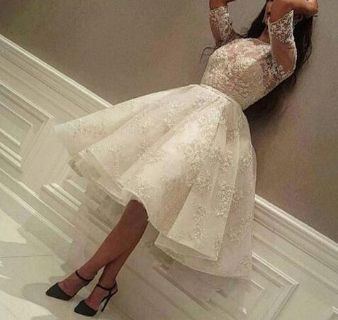 ada0dd36cec3f Vintage Lace Knee Length Puffy Plus Size Wedding Dresses 2018 Cheap Half  Sleeves Ball Gown Sexy Illusion Sheer Ivory Bridal Gown