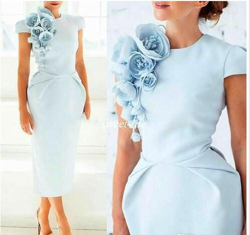 Light Blue Handmade Flowers Formal Evening Dress Crew Neck Short Sleeves Tea-Length Sheath Prom Party Cocktail Gowns 2018 Vestido De Festa