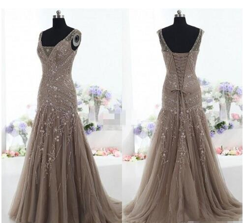 0b7d05592e Vintage Mother Of The Bride Dresses Mermaid V Neck Applique Beads ...