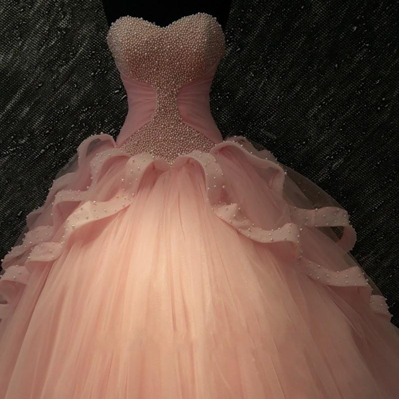 d594e0a54 Actual Image Coral Quinceanera Dresses Vestidos De 15 Anos Pearls Tulle  Lace Sweet 16 Dress Cheap Prom Ball Gowns