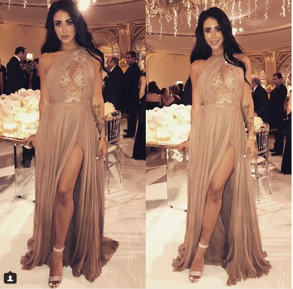 Sheath Prom Dress, Sexy Champagne Prom Dresses,One Shoulder Long Evening Dress, Sexy Sheer Bodice Prom Dresses Formal Dress
