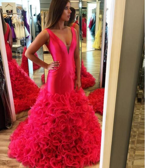 Sexy Prom Dress, Red V-neck Prom Dresses,Ruffle Evening Dress, Long Prom Dresses Formal Dress