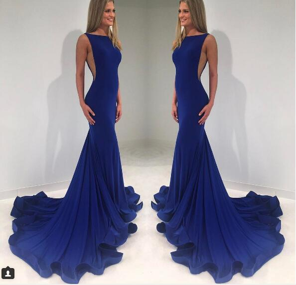 Sexy Prom Dress, Dark Navy Mermaid Prom Dresses, Satin Evening Dress, Crew Prom Dresses Formal Dress