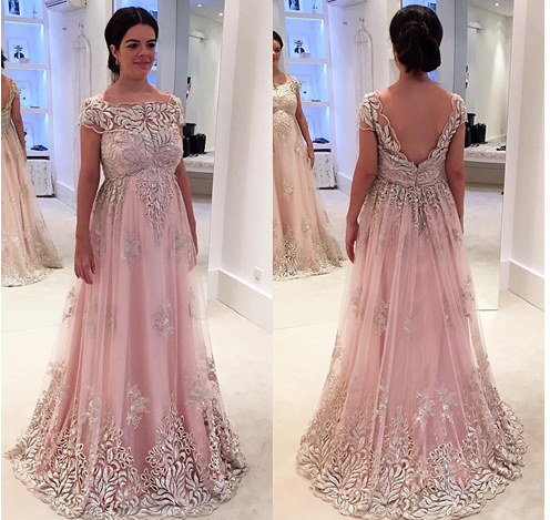 Pink Plus Size Prom Dresses Backless Lace Applique Short Sleeve Evening  Gowns Cheap A Line Formal Special Occasion Dress
