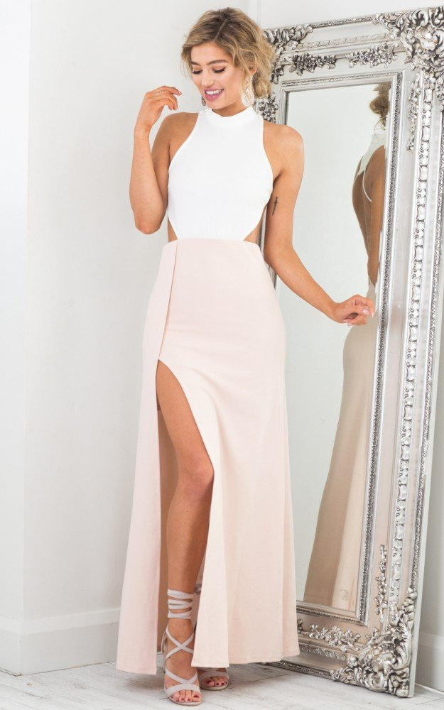 Elegant Pink Long Prom Dress Evening Dress with White Top