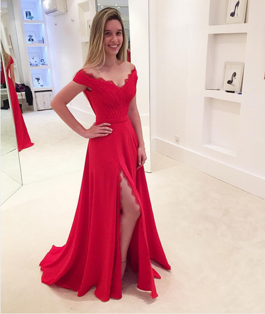 b158e9816a Gorgeous A-line Off The Shoulder Red Long Prom Dress With Slit on Luulla