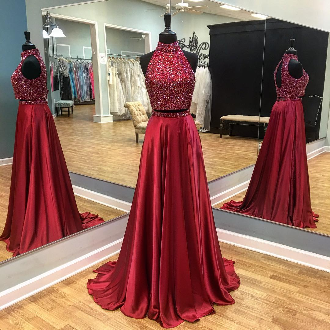 Sparkly Two Piece High Neck Long Dark Red Prom Dress With Backless