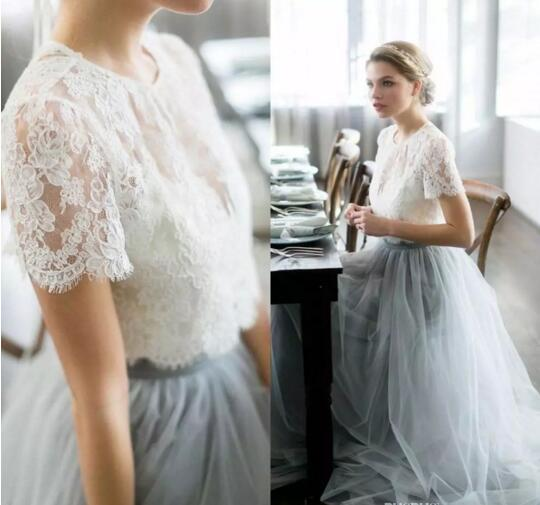 Country Cheap Two Pieces Grey Bridesmaid Dresses for Wedding Long Tulle A-Line Lace Formal Dresses Party Lace Modest Maid