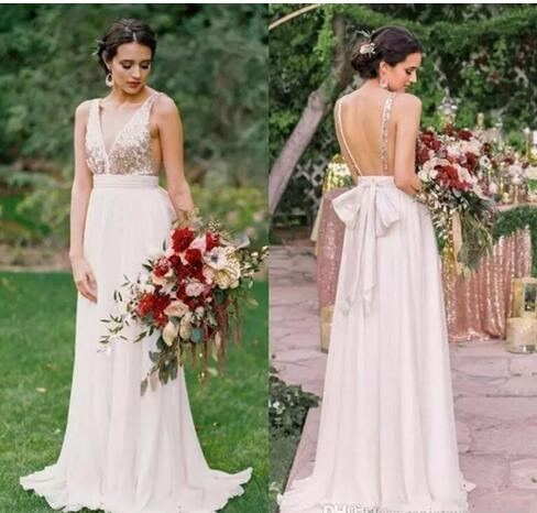 Blush Long Bridesmaid Dresses 2018 Deep V Neck Backless Sequined Chiffon Prom Dress Floor Length Wedding Guest Wear Maid Honor Gowns