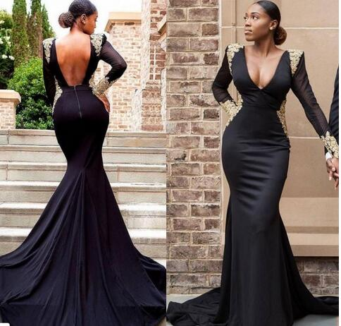 55621f68a3e27 2018 sexy cheap plus size black girl prom dresses gold lace formal evening  gowns mermaid dress long sleeves backless black prom dresses
