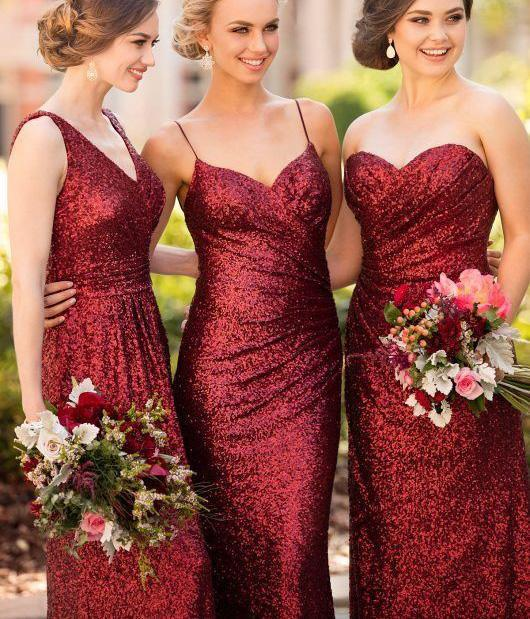 Mismatched Dark Red Sequin Long Bridesmaid Dresses Affordable Unique Custom Gowns