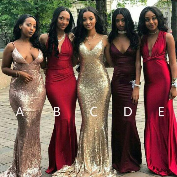 Affordable Mismatched Mermaid Long Bridesmaid Dresses, Cheap Unique ...