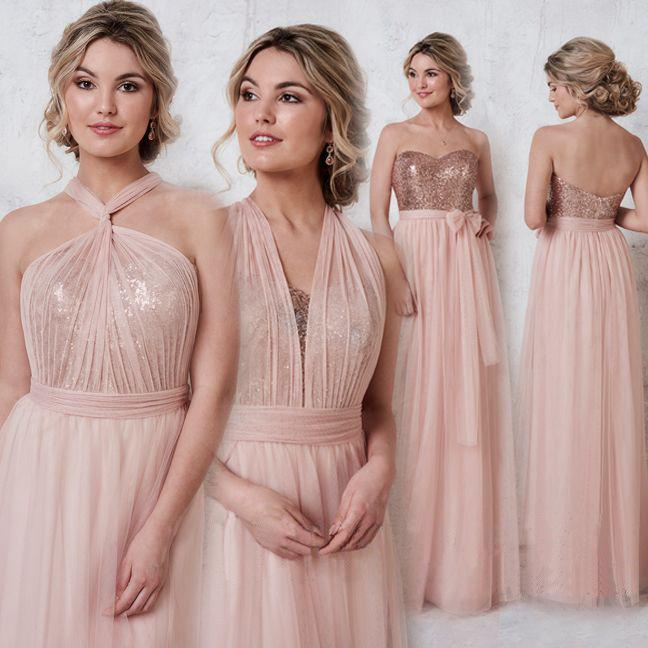 35489bf4613 Rose Gold Sparkly Mismatched Sequin Long Bridesmaid Dresses