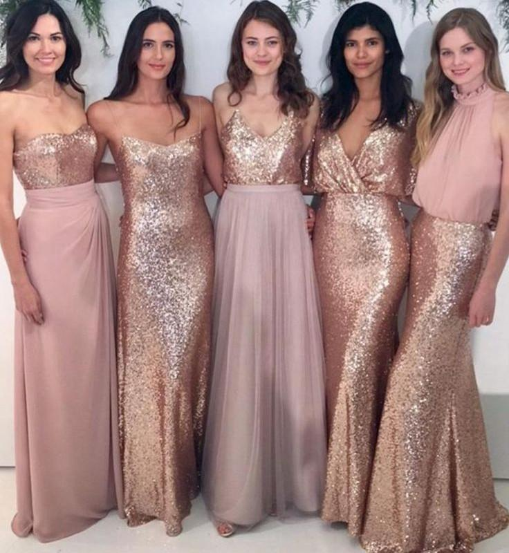 Custom Sparkly Mismatched Sequin Long Bridesmaid Dresses, Cheap Rose ...