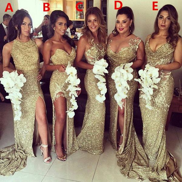 2018 Charming Most Por Mismatched Gold Side Split Sparkly Women Long Wedding Bridesmaid Dress