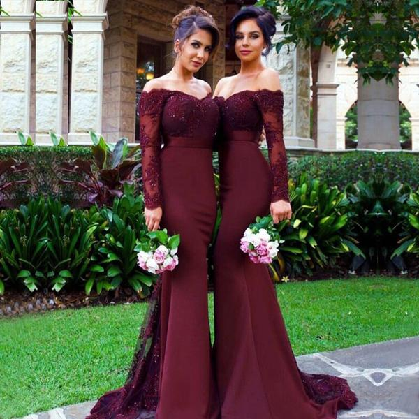 519b46b8af593 2018 Cheap Sexy Mermaid Long Sleeve Lace Long most popular Bridesmaid  Dresses