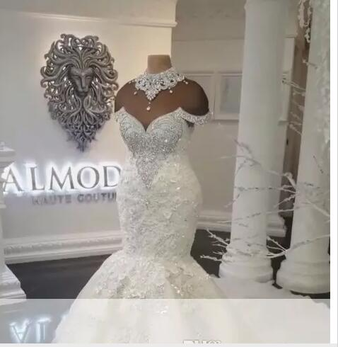 6b5db0b2bec New Designer Luxury Dubai Arabic Mermaid Wedding Dresses Plus Size Beading  Crystals Court Train Wedding Dress Bridal Gowns Custom