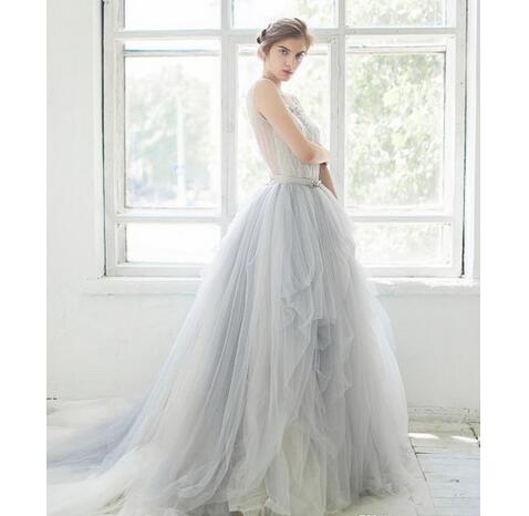 Ombre Tulle Beach Wedding Dresses Lace Applique Beaded Scoop Neck ...