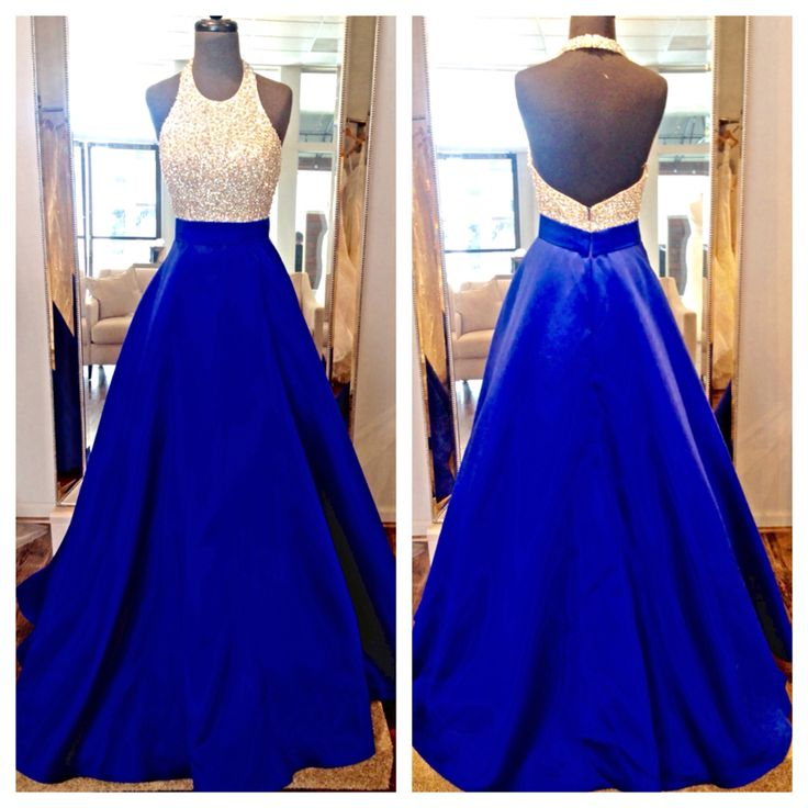 15b17adfde 2016 Real Image Prom Dress A-line Royal Blue Sequins Lace Backless Satin  Long Formal