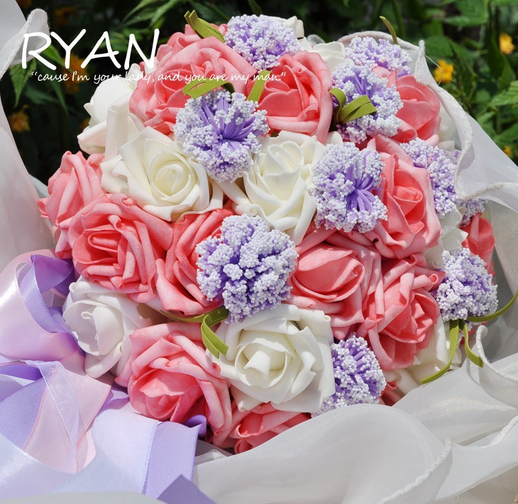 2016 Cheap New Arrival Wedding Bouquet Bridal Bridesmaid Red/Purple/Green Artificial Flower Rose Bride Bouquets buque de noiva