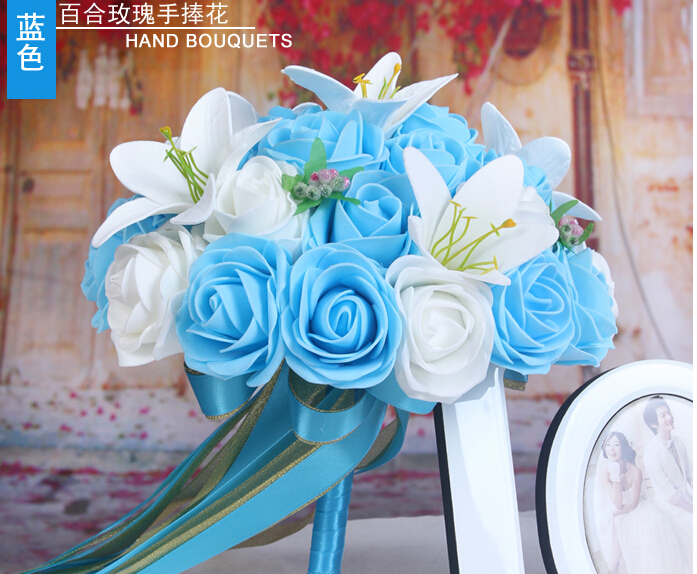 2016 Cheap Romantic White&Blue Bridal Bridesmaid Flowers Handmade Artificial Rose Wedding/Bridesmaid Bouquets Bridal Accessory
