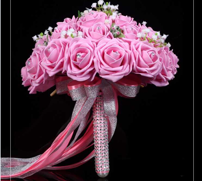 2016 New Arrival Flowers Cheap Romantic Light Pink Bridal Bridesmaid Handmade Artificial Rose Wedding/Bridesmaid Bouquets