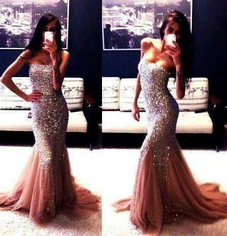 2016 Prom Dresses New Arrival Sexy Cheap Mermaid Pink Sweetheart Rhinestones Beads Crystals Tulle Prom Dress Long Formal Evening Dress Party Prom Gowns