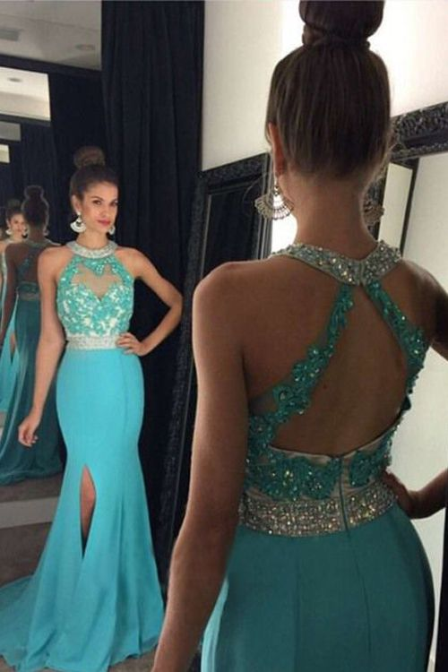 Prom Dresses New Arrival Sexy Cheap Mermaid Sheer Neck Rhinestones Beads  Crystals Backless Side Slit Prom Dress Long Formal Evening Dress Party Prom  Gowns 8a2387543857