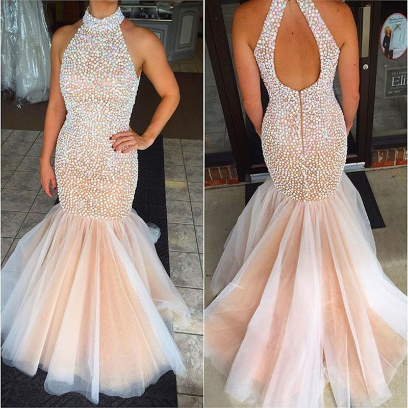 New Fashion Crystals Prom Dresses Sexy Beaded High Neck Backless Formal  Pageant Gowns Fashionable Mermaid Party Dress af7f2c5982a5