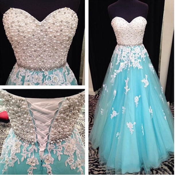 fashion sexy blue evening dresses 2016 sweetheart beaded appliques lace tulle womens formal prom gown dress for party