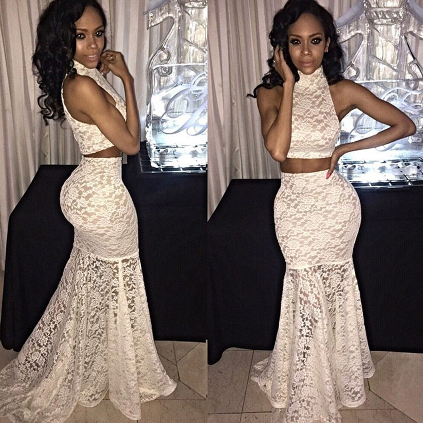 9729ee148c3be8 Sexy Formal Long Women High Neck Sleeveless Lace White Mermaid Prom Dress  Two Piece Prom Dresses