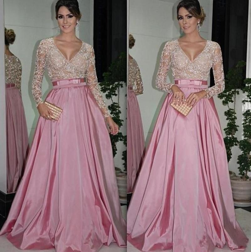 8ac7e28eb84b Sexy Long Sleeve Lace Eevening Dress Sequin Dubai Style A Line Formal  Arabic Evening Gowns Dresses