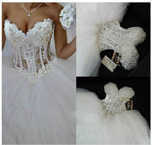 bfdca460281 Luxurious Bling Strapless Wedding dresses Corset Bodice Sheer Bridal Ball  Crystal Pearl Beads Rhinestones Tulle Wedding Gowns