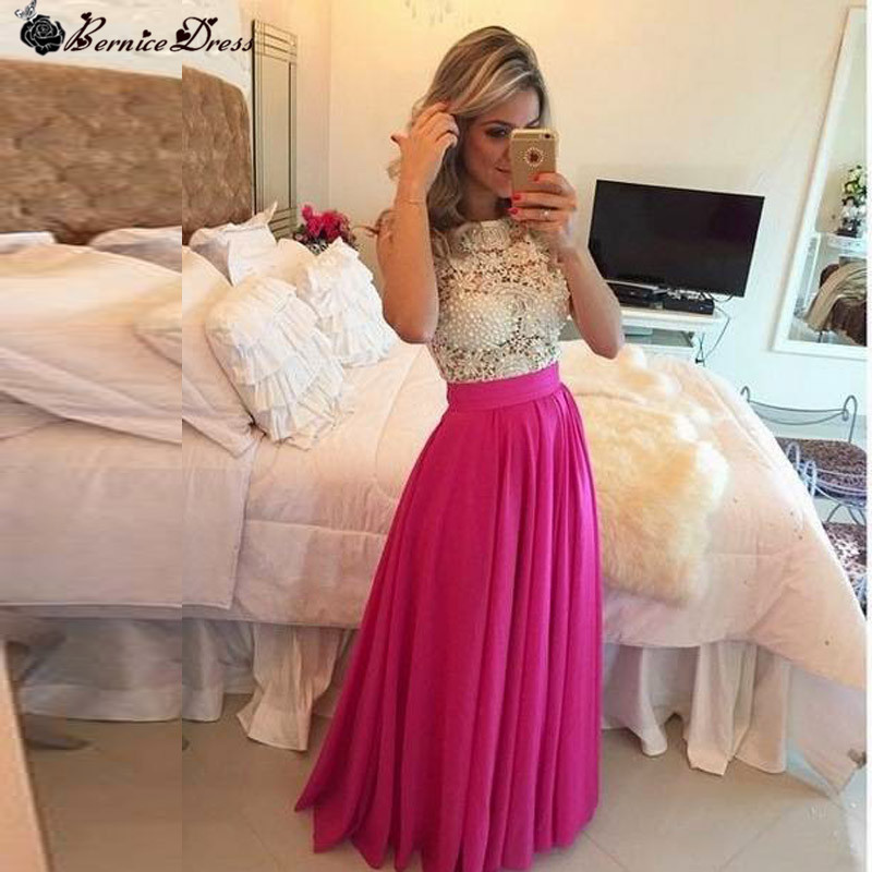 Chiffon Long Dress Party Evening Elegant Custom Made Fashionable Hot Pink New Prom Dresses Cheap Made in China
