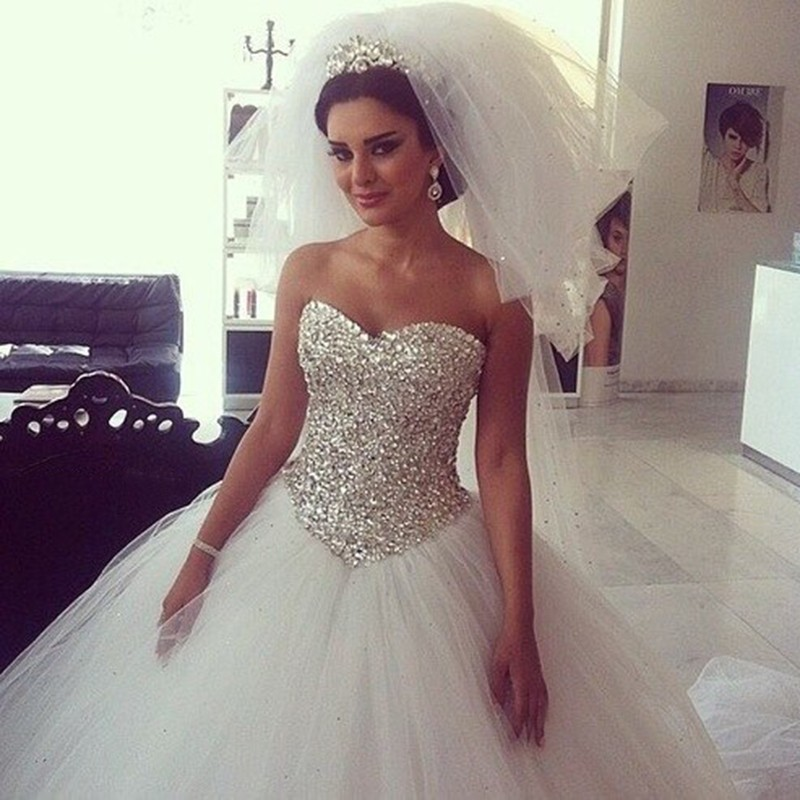 Huge Ball Gown Wedding Dresses With Bling