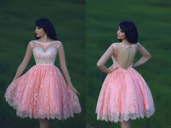princess sweetheart crystal bling open back short ball gown vestido de festa curto lace pink cocktail party dresses