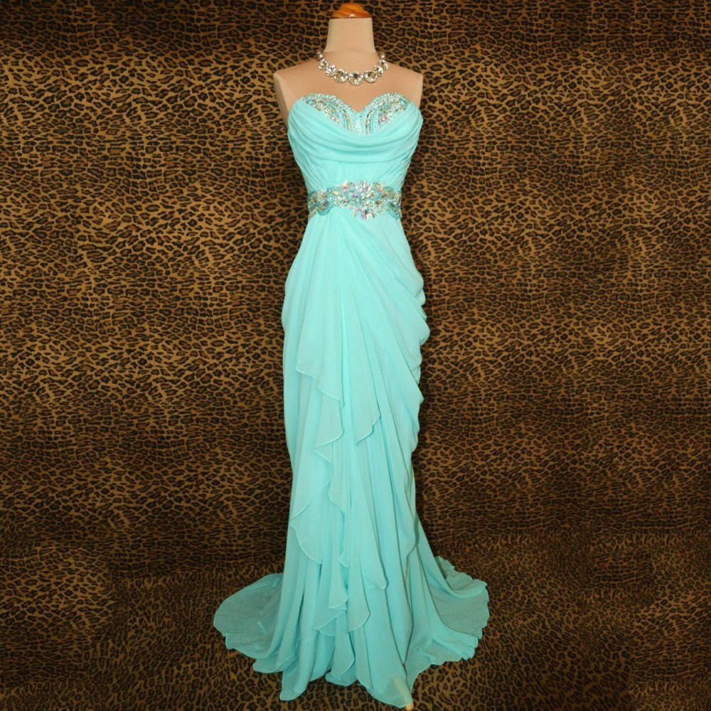Elegant Mint Green Mermaid Prom Dresses Sweetheart Chiffon Draped ...