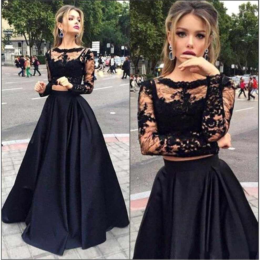 Stunning Sparkly 2 Piece Prom Dresses Evening Gowns Long sleeve Lace Black Prom  Dress 2016 Satin e2c72aa8f1a3