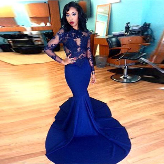 Long Sleeve Prom Dresses 2016 Gorgeous O-neck Top Lace Floor Length Stretch  Satin Mermaid Royal Blue African Prom Dress 3508febe9abf