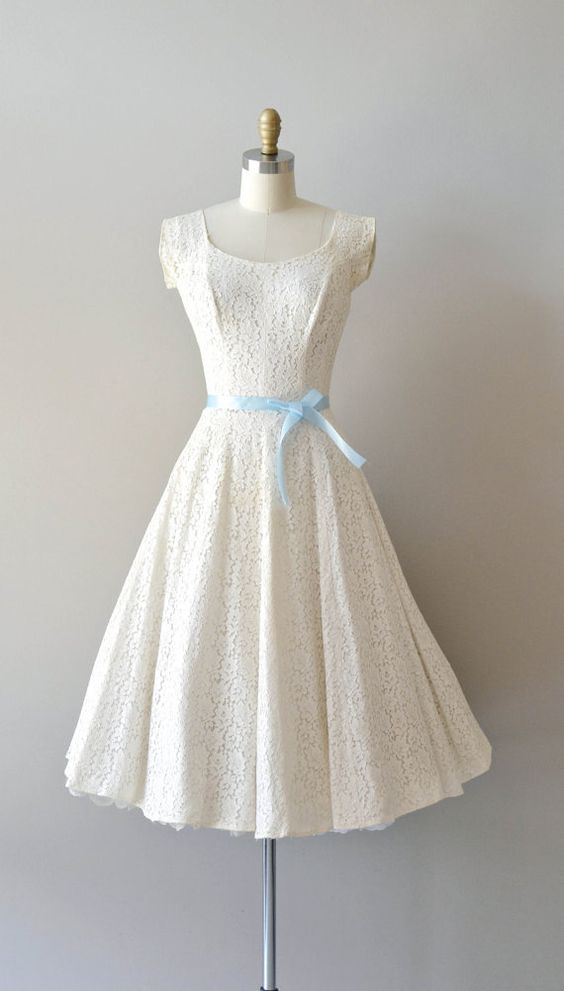 1950S Vintage Ball Gown Beach Wedding Dresses Scoop Lace Mini Short ...